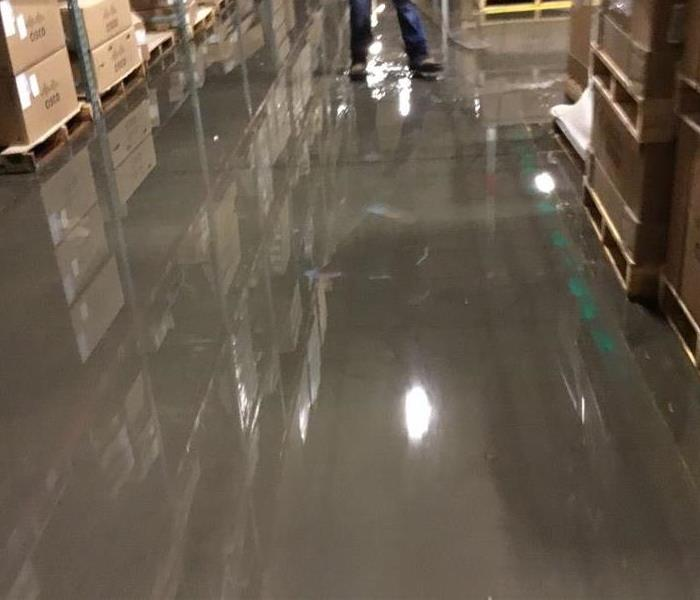Water Damage Flooded warehouse in Hurst, Texas